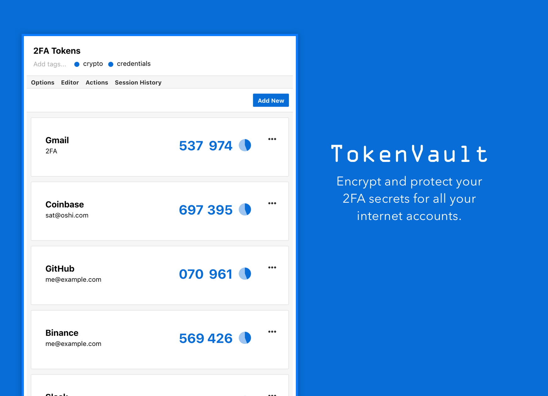 Encrypt and protect your 2FA secrets for all your internet accounts. TokenVault handles your 2FA secrets so that you never lose them again, or have to start over when you get a new device.